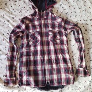 Toad & Co Hooded Plaid Zip Up Shirt